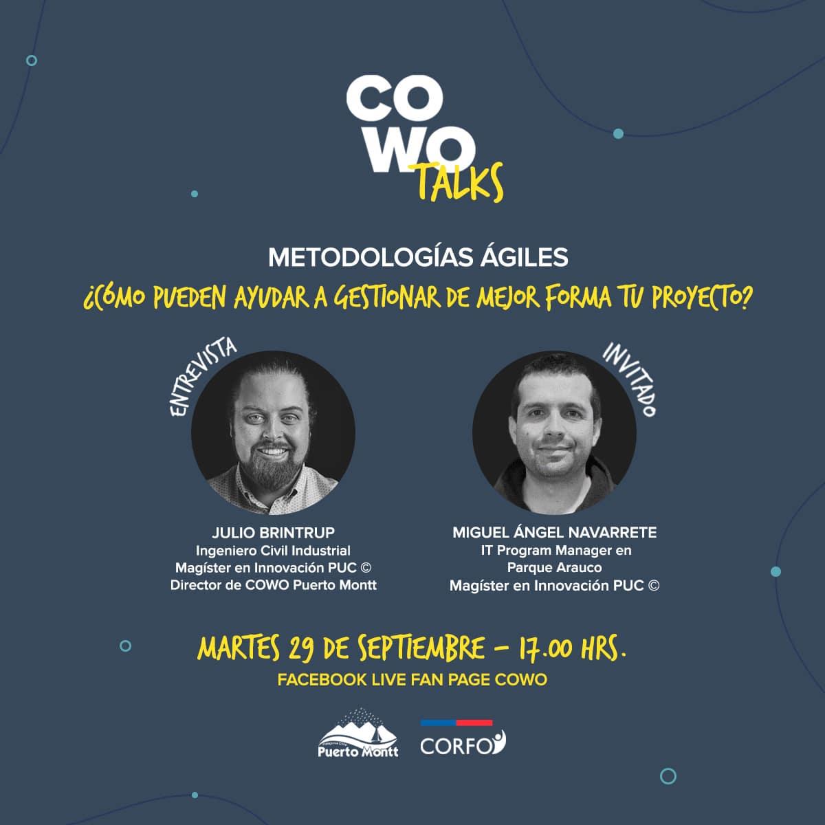 COWO talks: Metodologías ágiles y cómo pueden ayudar a gestionar de mejor forma tu proyecto